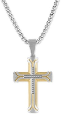 "Esquire Men's Jewelry Diamond Cross 22"" Pendant Necklace (1/10 ct. t.w.) in Stainless Steel & Gold Ion-Plate, Created for Macy's"