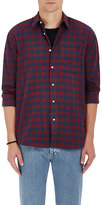 Barneys New York Men's Buffalo-Checked Cotton Flannel Shirt-RED, BLUE