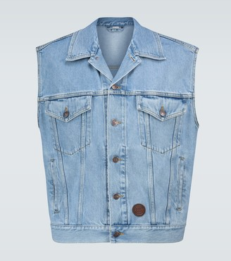 Gucci Stone-bleached denim vest