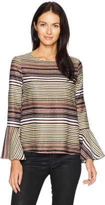 Lucca Couture Women's Deborah Stripe Trumpet Sleeve Bow Back Top