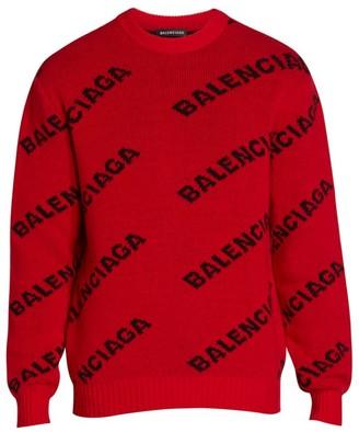 Balenciaga Logo Intarsia Virgin-Wool Blend Sweater