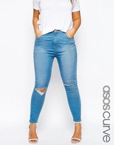 Asos Ridley Skinny Jean In Orchid Blue Wash With Rips