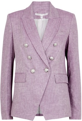 Veronica Beard Miller herringbone double-breasted linen blazer