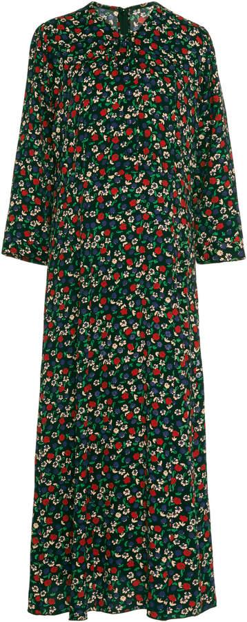 Anna Sui Carnation-Print Crepe Midi Dress