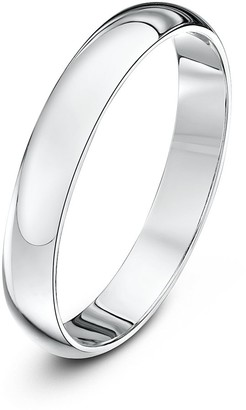 Theia Unisex 18 ct White Gold Super Heavy D Shape Polished 3 mm Wedding Ring Size T