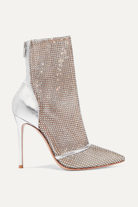 Gianvito Rossi 105 Crystal-embellished Metallic Leather And Mesh Ankle Boots - Silver