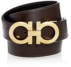 Salvatore Ferragamo Men's Smooth Reversible Belt with Shiny Goldtone Double Gancini Buckle
