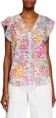 Kate Spade floral dots burnout cap-sleeve top