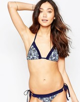 South Beach Ditsy Floral Triangle With Frill Bikini Top