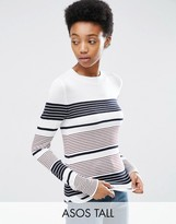 ASOS Tall ASOS TALL Sweater With Crew Neck In Stripe in Soft Yarn