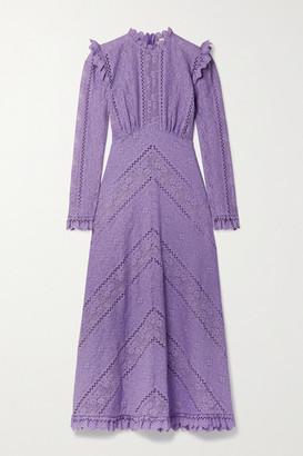 Zimmermann Brighton Paneled Cotton-blend Lace Midi Dress - Lilac