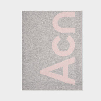 Acne Studios Scarf Toronty Logo In Light Pink Wool