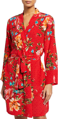 Johnny Was Evelyn Floral Geo Washed Silk Robe