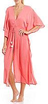 Josie Sweet Melody Tasseled Crinkled Cold-Shoulder Wrap Robe
