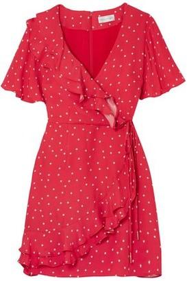Rebecca Vallance Flores Ruffled Printed Crepe Wrap Mini Dress