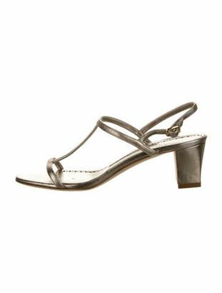 Manolo Blahnik Leather T-Strap Sandals Gold