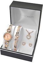 Sekonda 2363G Women's Jewellery Strap Watch, Bracelet, Pendant Necklace and Earrings Gift Set, Rose Gold