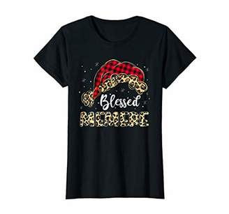 Womens Leopard Print Hat Christmas Pajama Gift Blessed Memere T-Shirt