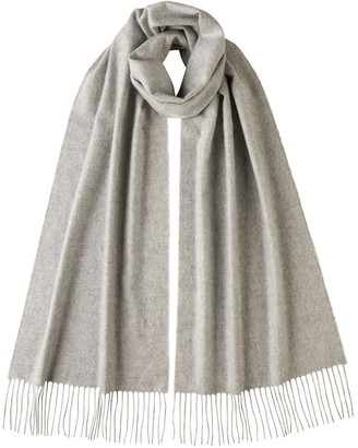 Johnstons of Elgin Oversized Classic Cashmere Scarf Silver