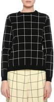 Valentino Windowpane Boxy Crewneck Sweater, Black