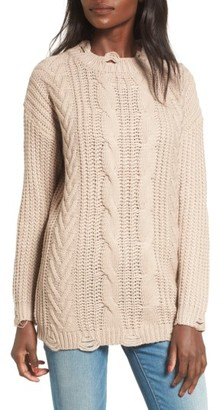 DREAMERS BY DEBUT Distressed Cable Knit Sweater