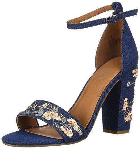 a3e7ab84b2620 Women's Slick Floral Embroidered Block Heel Sandal Heeled