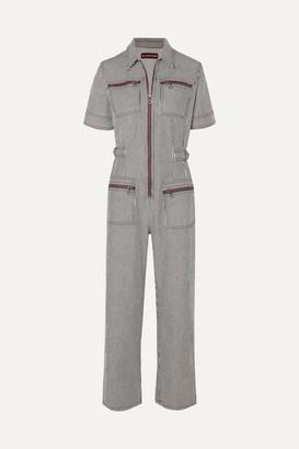ALEXACHUNG Zip-embellished Striped Denim Jumpsuit - Navy