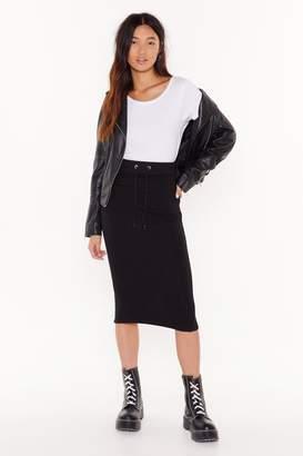 Nasty Gal Womens Draw 'Em in Jersey Midi Skirt - black - 4