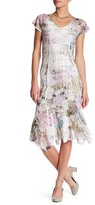 Komarov V-Neck Flutter Sleeve Midi Dress