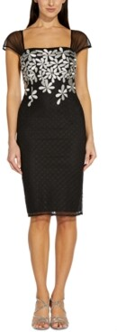Adrianna Papell Embroidered-Floral Sheath Dress