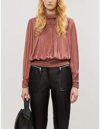 Frame Pleated satin top