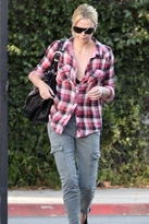 Kendra Gauze Plaid Shirt in Red/Gray