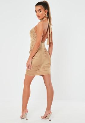 Missguided Champagne Stretch Satin Halterneck Mini Dress