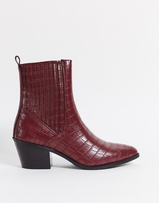 Vero Moda western boots in red snake