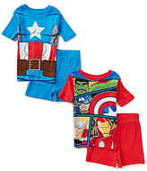 AME Little/Big Boys 4-10 Avengers Captain America Hulk Thor and Iron Man Pajama Top & Shorts Four-Piece Set