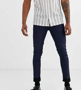 ASOS DESIGN Tall super skinny coated smart jeans in blue
