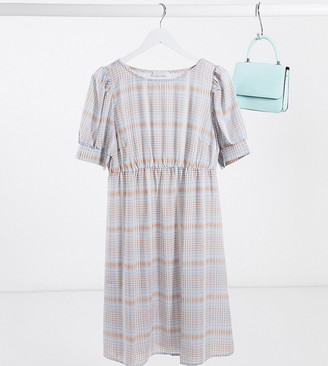 Mama Licious Mamalicious Maternity smock dress with puff sleeves in blue check