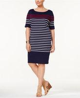 Karen Scott Plus Size Cotton Striped Shift Dress, Created for Macy's