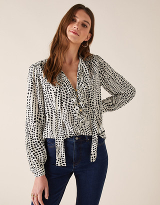 Monsoon Spot Print Blouse in Sustainable Viscose Ivory