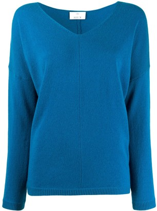 Allude long sleeve V-neck top