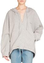 Balenciaga Hooded Zip-Front Cocoon Sweatshirt, Light Gray