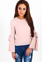 Pink Boutique Love Marylin Blush Tie Sleeve Button Back Top