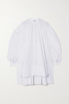 Alexander McQueen Oversized Asymmetric Pleated Cotton-poplin Mini Dress - White