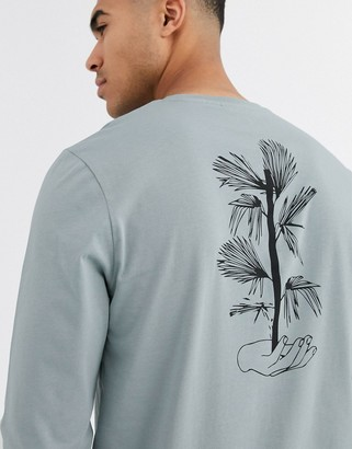 Asos Design DESIGN long sleeve t-shirt with floral line drawing back print