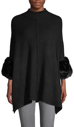 Saks Fifth Avenue Faux Fur Knit Poncho