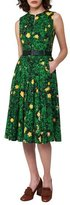 Akris Buttercup Floral-Print Belted A-Line Dress, Forest