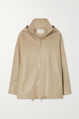 LVIR Faux Leather Hooded Jacket - Beige