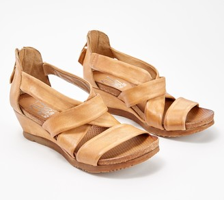 Miz Mooz Leather Cross Strap Wedge Sandals - Mika