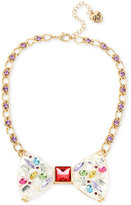 Betsey Johnson Gold-Tone Multi-Stone and Crystal Bow Tie Collar Necklace