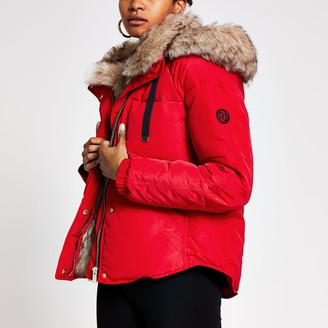 River Island Womens Red faux fur hooded padded jacket